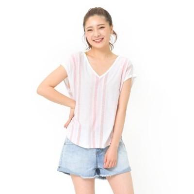 tシャツ Tシャツ 【RIP CURL リップカール】レディースVネックTシャツ / 半袖 デザインカットソーストライプ