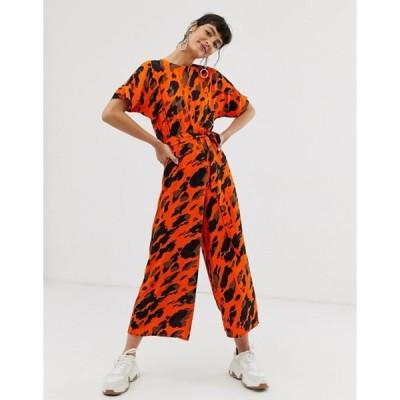 エイソス レディース ワンピース トップス ASOS DESIGN short sleeve tie waist jumpsuit in red animal print