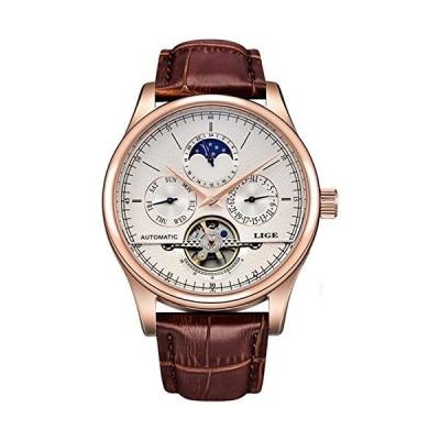 ムーンフェーズブランドラグジュアリー自動機械腕時計メンズファッションビジネス時計防水スポーツ時計 43mm Rose Gold White