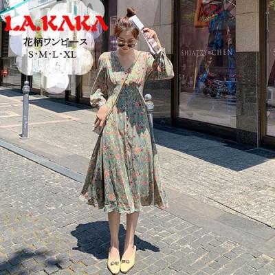 ドレスキャバ。花柄長袖ワンピース。シンプルでエレガントに仕上げた一着です。普段着、通勤、デート、お出かけに相応しい一着です。