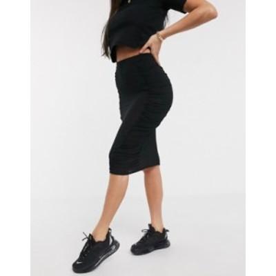エイソス レディース スカート ボトムス ASOS DESIGN midi skirt with ruched side panels in black Black