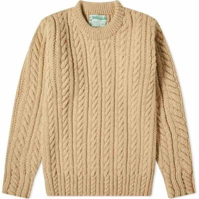 インバーアラン Inverallan メンズ ニット・セーター トップス 16p cable crew knit Oatmeal