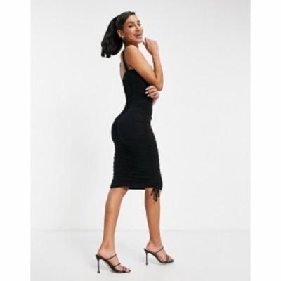 エイソス ASOS DESIGN レディース ボディコンドレス ミドル丈 ワンピース・ドレス Ruched Sweetheart Bodycon Midi Dress In Black ブラ