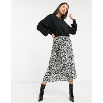 リバーアイランド レディース ワンピース トップス River Island leopard mix mini sweater dress in black Black