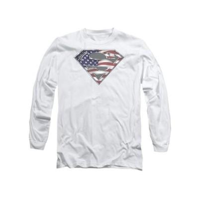 ユニセックス 衣類 トップス Superman DC Comics All American Flag Shield Logo White Adult Long Sleeve T-Shirt Tシャツ