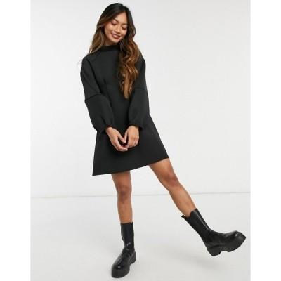 エイソス レディース ワンピース トップス ASOS DESIGN high neck scuba volume sleeve mini dress in black Black