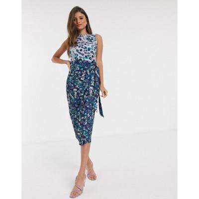 クローゼットロンドン レディース ワンピース トップス Closet London wrap pencil dress in floral mix