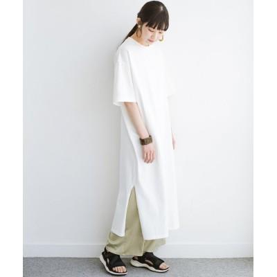 (haco!/ハコ)一枚でサマになる!しっかり素材できれいシルエットのTシャツワンピース by Healthknit/レディース オフホワイト