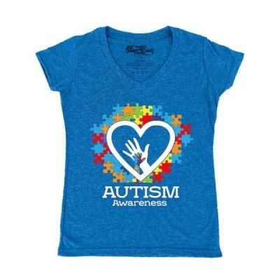 レディース 衣類 トップス Shop4Ever Women's Autism Awareness Hands Puzzle Heart Slim Fit V-Neck T-Shirt Tシャツ