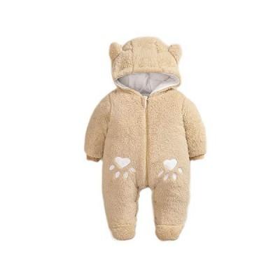 Simplee キッズ ベビー 幼児 男の子 女の子 冬 暖かい スノーウェア アウトウェア 新生児 フード付き 足付き ロンパース ジャンプスーツ