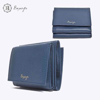 BajoLugo バジョルゴ コンパクトウォレット シボ ネイビー 三つ折りウォレット 財布 布 レザー 日本製