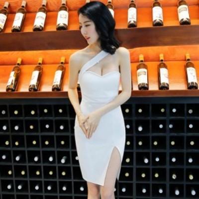 パーティードレス 安い 可愛い イブニングドレス Iライン タイト スリム セクシー スリット チューブトップ ワンショルダー