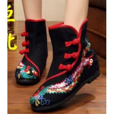 レディースシューズ チャイナ靴手作り北京布靴エスニックチャイナシューズカジュアル民族風花刺繍柄ミュール婦人ハイヒール短靴