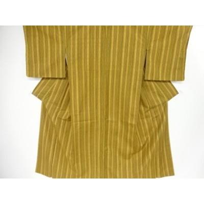 リサイクル 未使用品 よろけ縞模様織り出し手織り紬着物