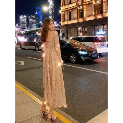パーティードレス ワンピース キャバ ドレス 二次会 お呼ばれ 披露宴 ロング キラキラ