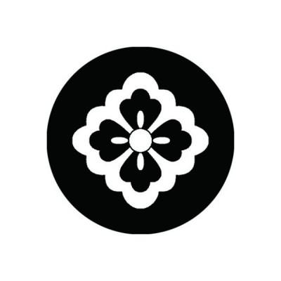 家紋シール 白紋黒地 太陰四方花菱 布タイプ 直径40mm 6枚セット NS4-2149W