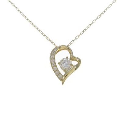【中古品】K18YG ハート ダイヤモンドネックレス