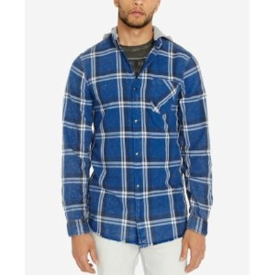 buffalo バッファロー ファッション アウター Buffalo David Bitton NEW Blue Men 2XL Button Down Hooded Plaid Shirt