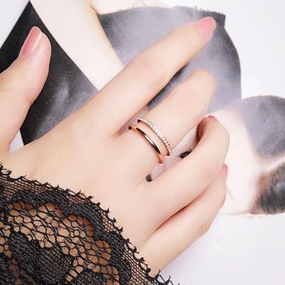 綺麗な指輪リング  ピンクゴールド 韓国ファッション ジュエリー 女性 誕生日 プレゼント 記念日