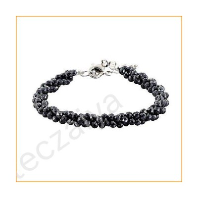 NirvanaIN Black Spinel Bracelet Black Jewelry Gift for her Twisted Black Spinel Bracelet Three Line Handmade Jewelry with Adjustable Silver Clasp【