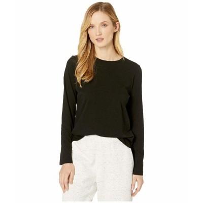 エイリーンフィッシャー シャツ トップス レディース Slubby Organic Cotton Jersey Round Neck Long Sleeve Top Black