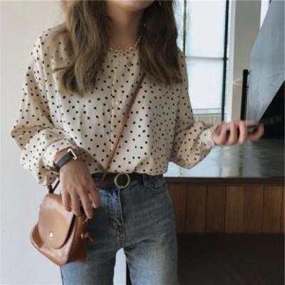 LAZA 【アプリコット】長袖ドットシャツ レース襟 水玉シャツ ボタンシャツ シック シンプル ドロップショルダー