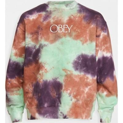 (取寄)オベイ メンズ プレミアム クルー フリース タイ ダイ スウェットシャツ Obey Men's Premium Crew Fleece Tie Dye Sweatshirt GreenAsh 送料無料