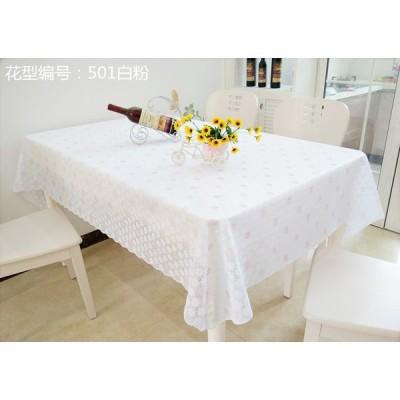テーブルクロス 淡い小花柄 レース風 なみ縁取り PVC製 防水防油加工 ピンク系 (正方形 135×135cm)