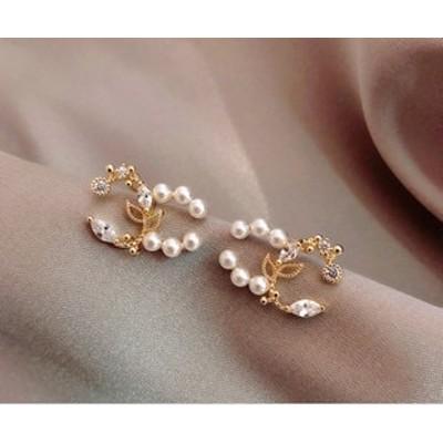 2020新型s925銀針小香風イヤリング花びら真珠軽贅沢ネット赤ピアス女性百合シンプル耳飾り