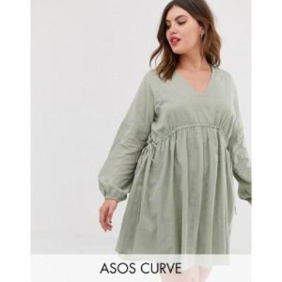 エイソス ASOS Curve レディース ワンピース ミニ丈 ワンピース・ドレス Curve V Front V Back Mini Smock Dress In Texture With Long S
