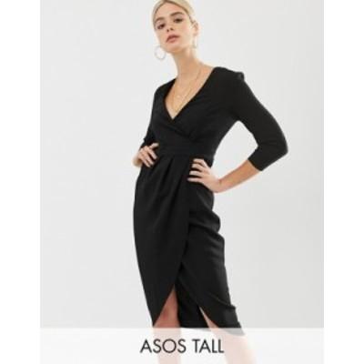 エイソス レディース ワンピース トップス ASOS DESIGN Tall midi dress with wrap skirt Black