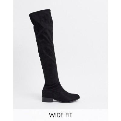 パブリックディザイア Public Desire Wide Fit レディース ブーツ ニーハイブーツ シューズ・靴 Exclusive Elle Over The Knee Boots In Black ブラック