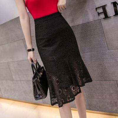 高い腰レーススカート修身 着やせフリルヒップを包むスカート大人 上品 通勤 レディース オフィス カジュアル