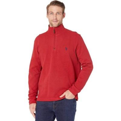 ユーエスポロアッスン U.S. POLO ASSN. メンズ ニット・セーター トップス 1/4 Zip Long Sleeve Knit Barn Red
