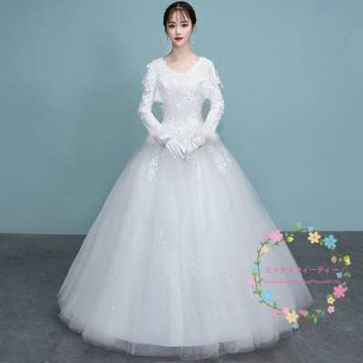 ウェディングドレス 白 ホワイト 安い 結婚式 花嫁 二次会 長袖 プリンセスライン ウエディングドレス パニエ クローブ ベール付き 大きいサイズ おしゃれ