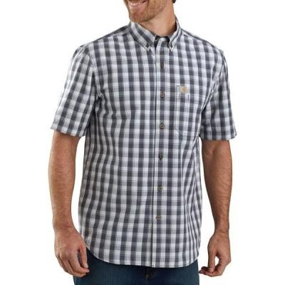 カーハート シャツ トップス メンズ Carhartt Men's Essential Plaid Button Down Short Sleeve Shirt Navy