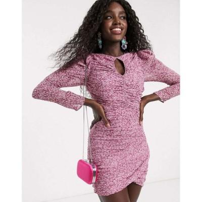 バルドー Bardot レディース ワンピース ラップドレス ミニ丈 ワンピース・ドレス elevated shoulder wrap front mini dress in purple print パープルプリント