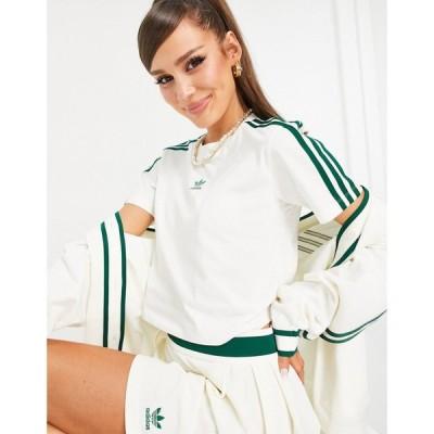 アディダス adidas Originals レディース ベアトップ・チューブトップ・クロップド Tシャツ 'Tennis Luxe' logo cropped three stripe t-shirt in off white
