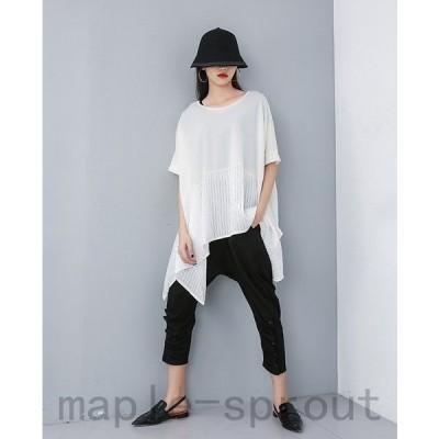 サイドチュニックT 裾変形デザイン アシンメトリー Tシャツ レディース 半袖 ロングトップス