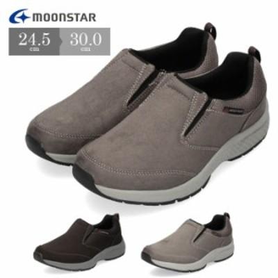 メンズ スニーカー ムーンスター SPLT M197 ブラック チャコール グレー 靴 スリッポン 防水 4E 通気性 抗菌