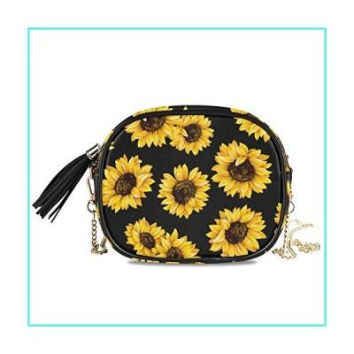 【新品】ALAZA Women's Stylish Yellow Sunflower PU Leather Crossbody Bag Shoulder Purse with Tassel(並行輸入品)