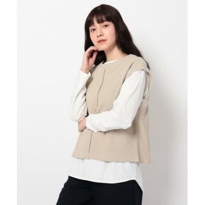 THE SHOP TK/ザ ショップ ティーケー リブベスト×TシャツSET ライトベージュ(051) 13(L)