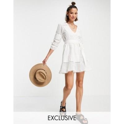 ホワイトサンド レディース ワンピース トップス White Sand cotton lace trim mini dress in cream