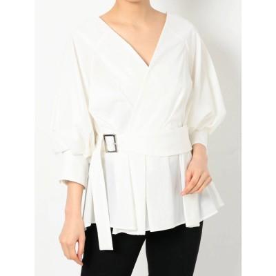 MURUA バックオープンボリュームスリーブシャツ(ホワイト)