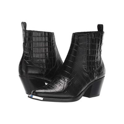 ドルチェ・ヴィータ Abie レディース ブーツ Black Croco Embossed Leather