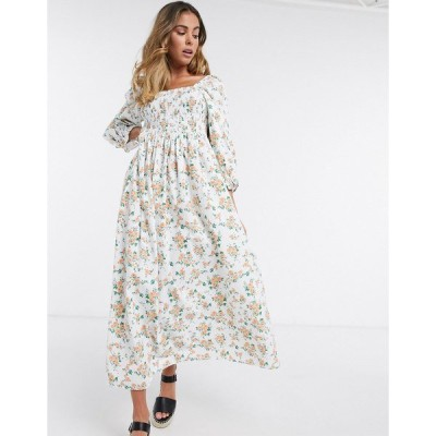 エイソス レディース ワンピース トップス ASOS DESIGN shirred cotton maxi dress in ditsy floral White based floral
