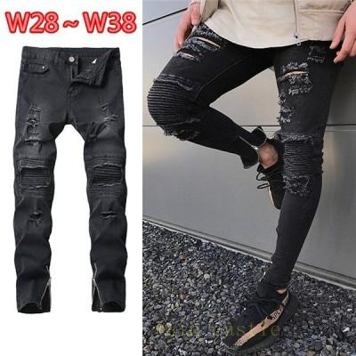 欧米風 メンズ ダメージジーンズ デニム 細身 ファンション カッコイイ  パンツ ブルー 新品未使用