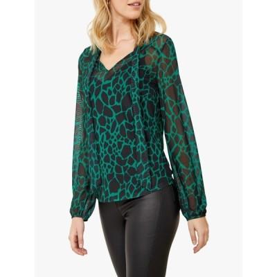ソサンダール シャツ レディース トップス Sosandar Moroccan Print Tie Neck Top, Green