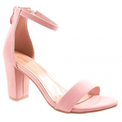 トップモーダ レディース パンプス Top Moda Women's Hannah-1 Single Band Chunky/Block Heel Sandal With Ankle Strap and Zipper Closure
