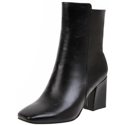 [KemeKiss] レディース クラシック ショートブーツ スクエアトゥ 太ヒール ブーツ サイドジップ(38 AS,Black)